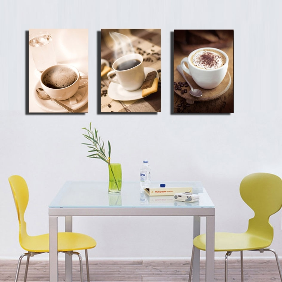Unframed 3 Piece Fashion Home Decoration Hot Coffee Cup Painting In 2017 Coffee Canvas Wall Art (View 9 of 15)