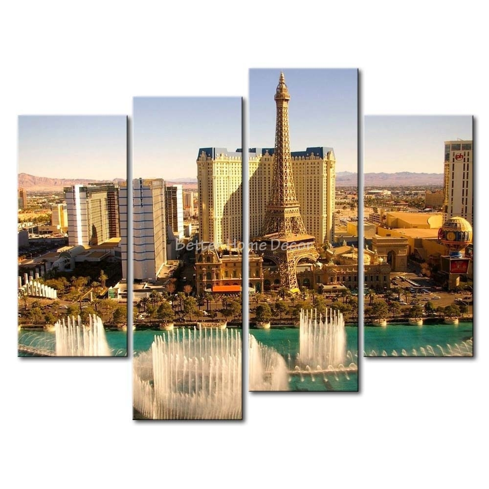 Unframed 4 Piece Wall Art Painting Las Vegas High Tower With Water Regarding 2017 Las Vegas Canvas Wall Art (View 10 of 15)