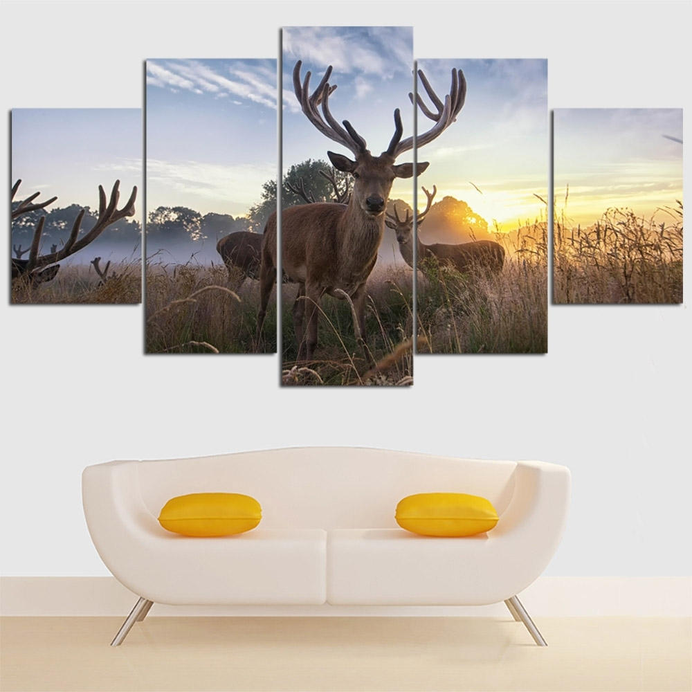 Unframed 5 Pieces Cuadros Canvas Wall Art Animal Deer Dog Horse Intended For 2017 Deer Canvas Wall Art (View 14 of 15)