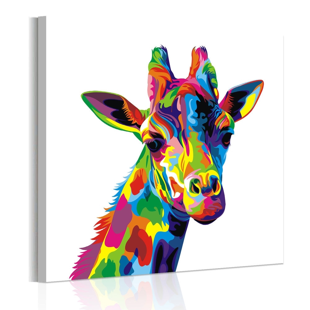 Unframed Abstract Wall Art Colored Giraffe Canvas Prints Poster With Regard To Most Current Giraffe Canvas Wall Art (View 14 of 15)