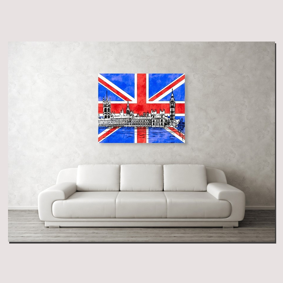 Union Jack Wall Art With Signature Gothic Revival Parliament Inside Most Popular Union Jack Canvas Wall Art (Gallery 11 of 15)