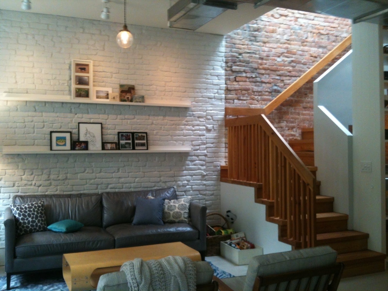 Unique Wall Mount Shelves Storage Hang On White Exposed Brick Wall For Newest Brick Wall Accents (View 14 of 15)