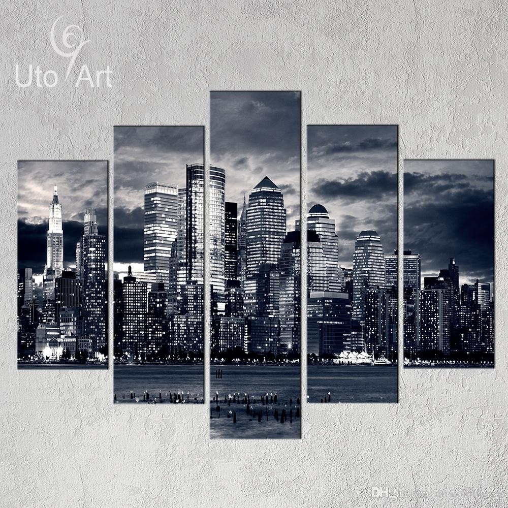 Unstretched Modern Home Decor New York City Painting Black White With Regard To Most Current Canvas Wall Art Of New York City (View 13 of 15)