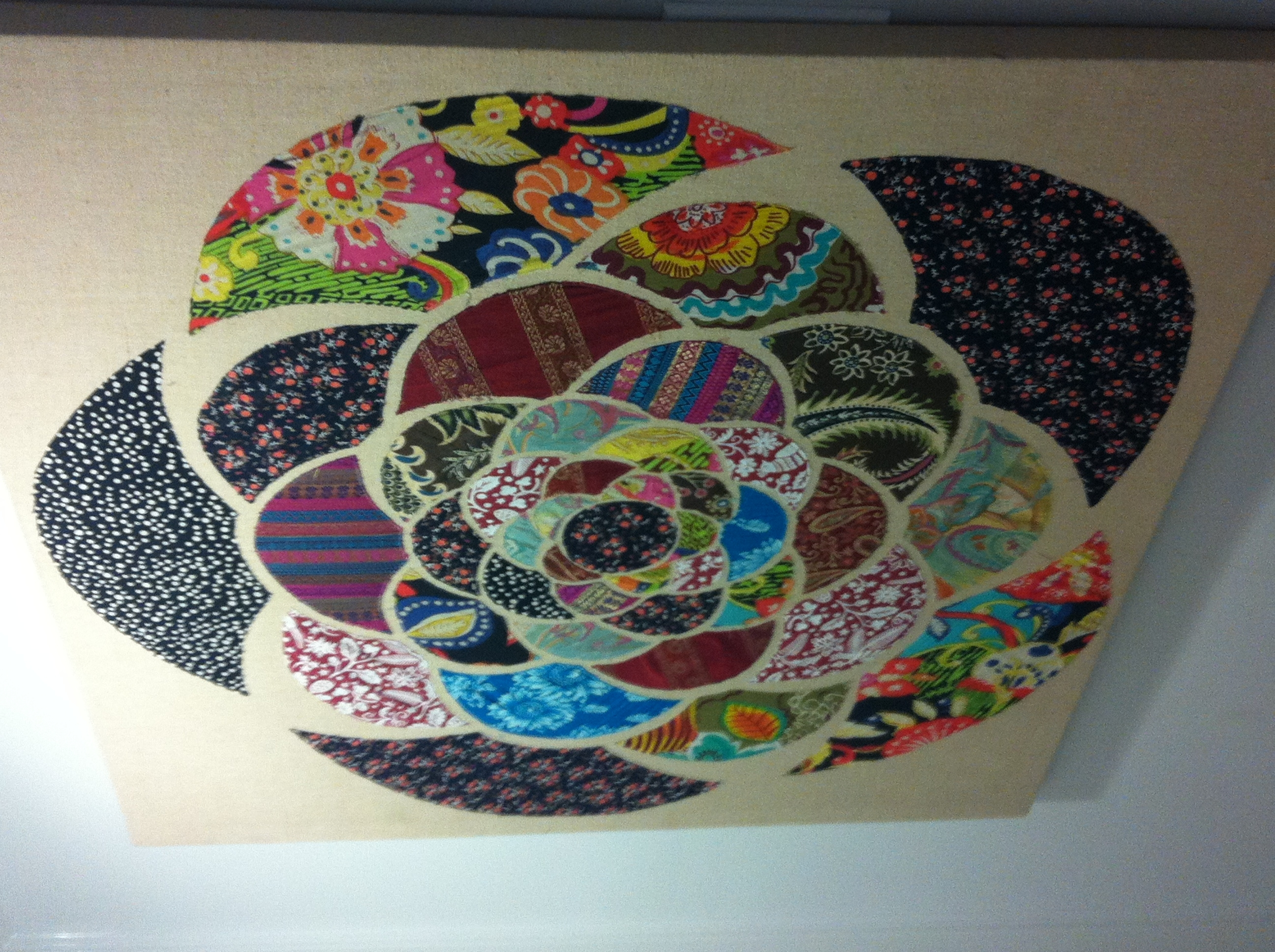 Use Scraps Of Fabric To Make A Large Wall Art On Canvas. | Diy within Most Up-to-Date Fabric Circle Wall Art