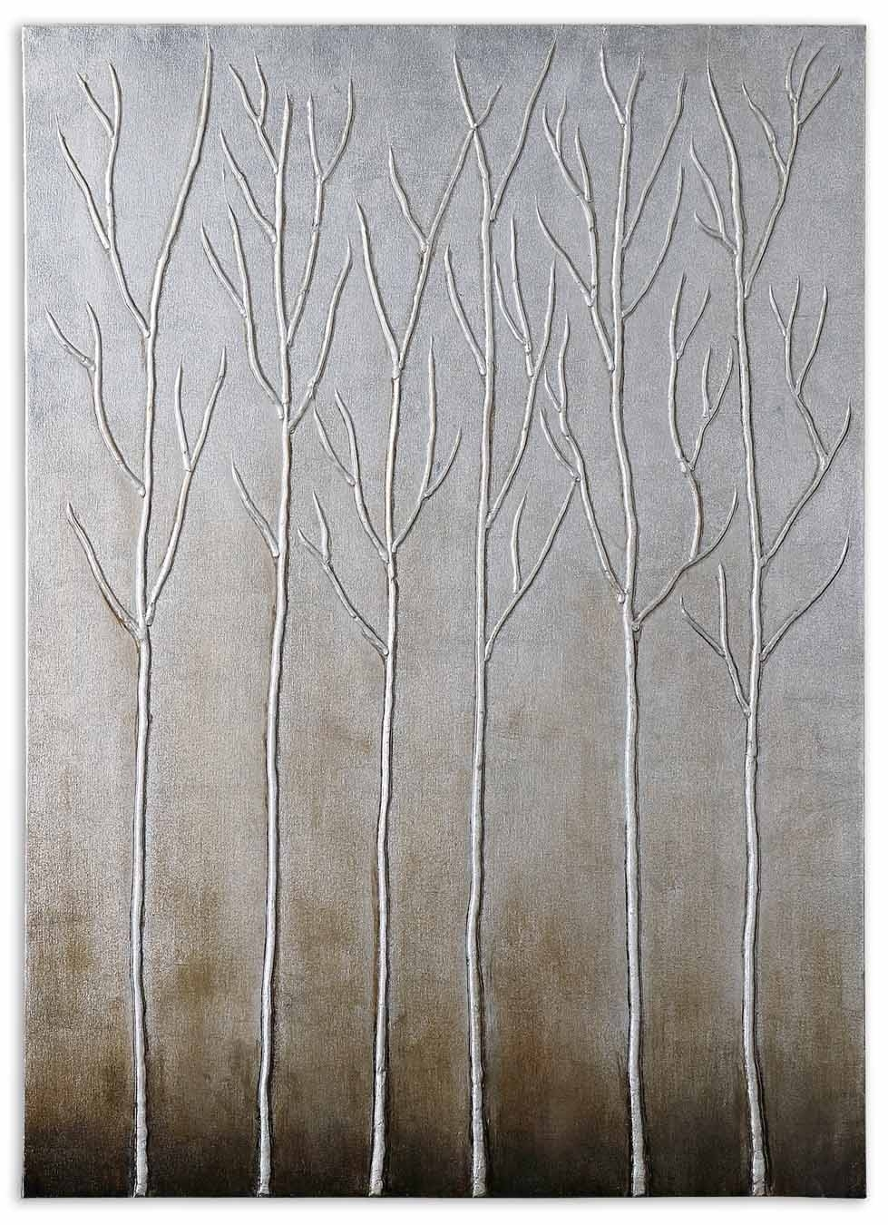 Uttermost Sterling Trees Hand Painted Art 35105 Pertaining To 2018 Canvas Wall Art At Wayfair (View 14 of 15)