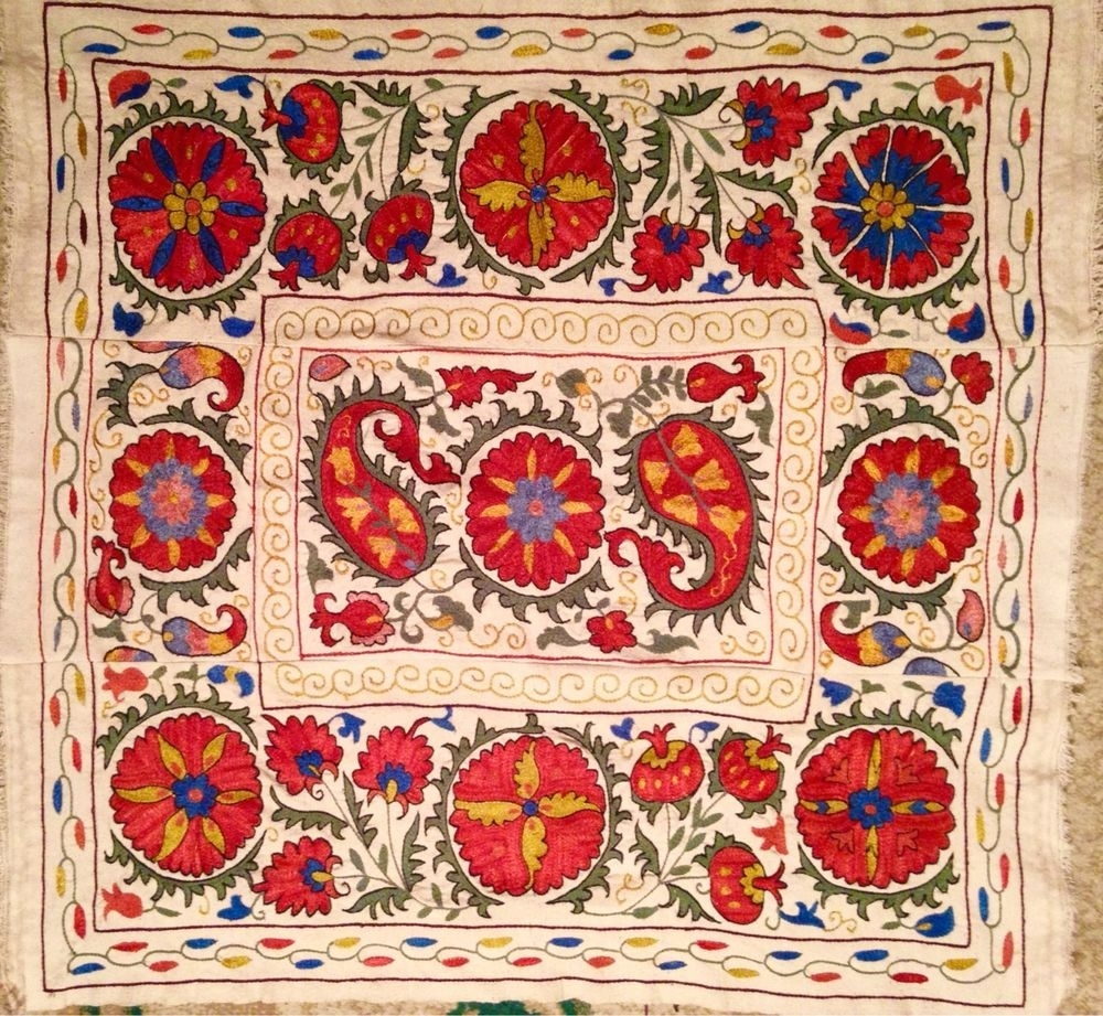 Uzbek/ Turkic / Turkish Suzani Fully Hand Made Emboidery And Inside Newest Handmade Textile Wall Art (Gallery 10 of 15)