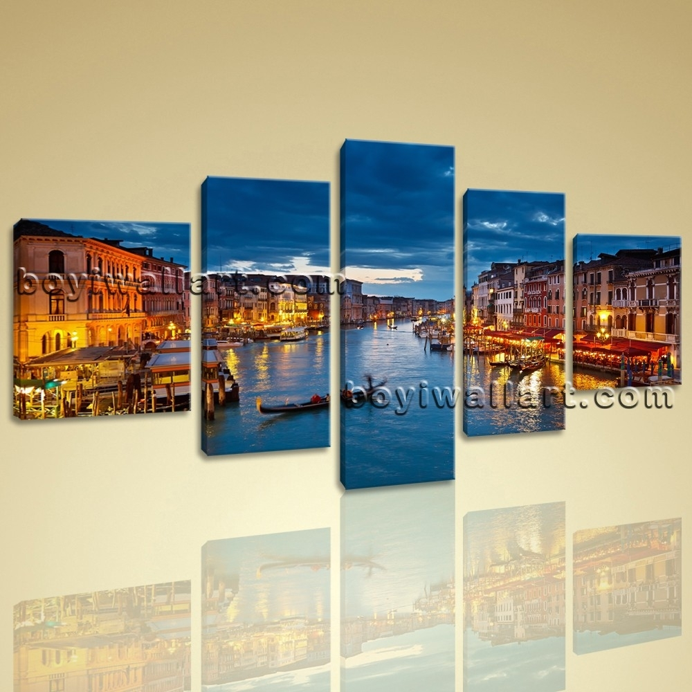 Venice Night Scene Peaceful Large Wall Art Canvas Print Framed Blue within Recent Panoramic Canvas Wall Art