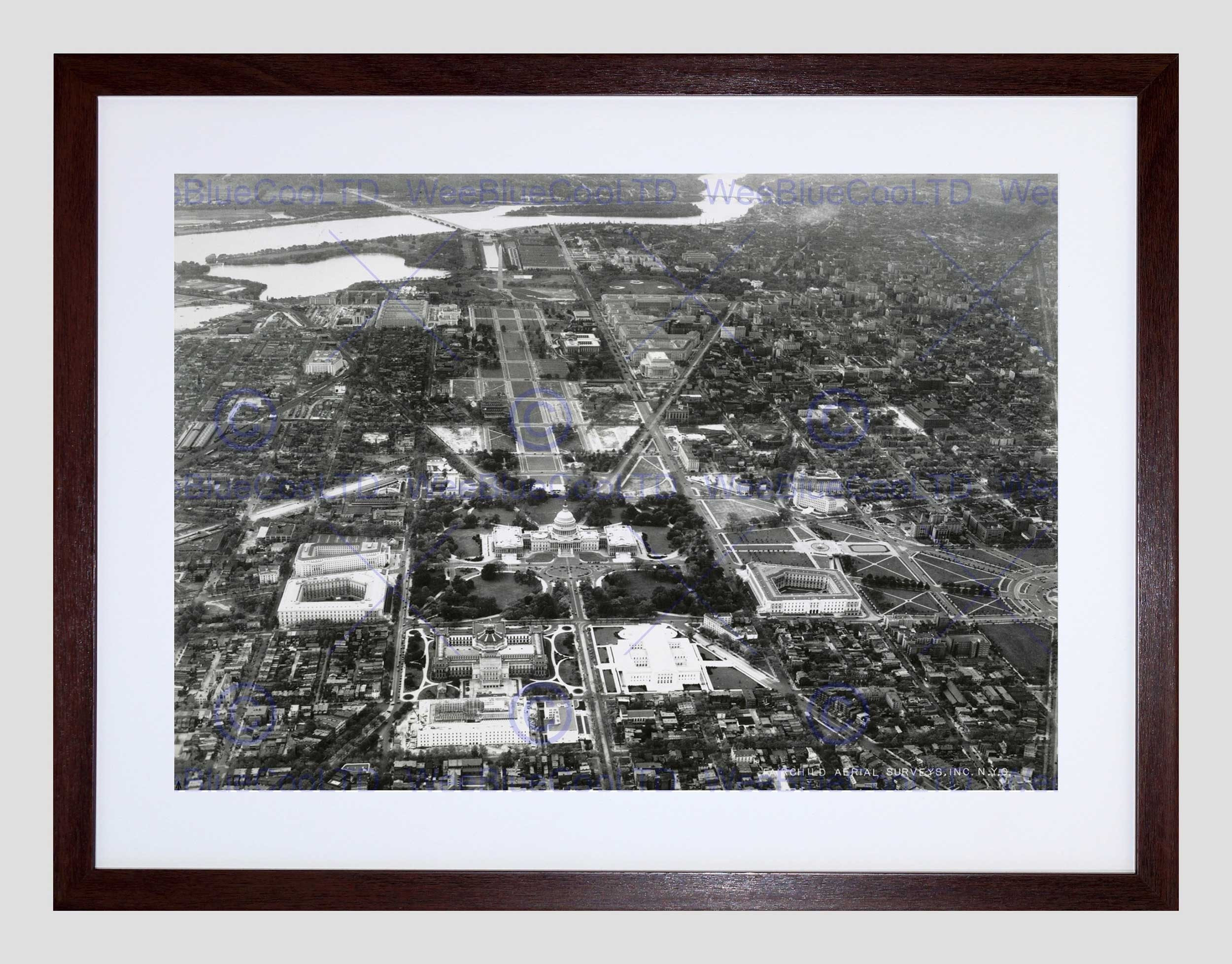 Vintage Aerial Capitol Hill Washington Dc America Usa Framed Art in Current Washington Dc Framed Art Prints