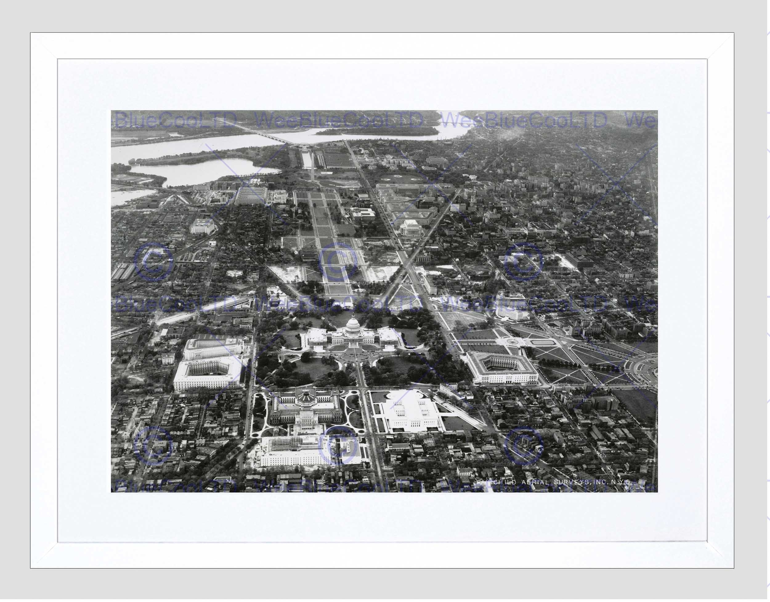 Vintage Aerial Capitol Hill Washington Dc America Usa Framed Art Regarding Latest Washington Dc Framed Art Prints (View 10 of 15)