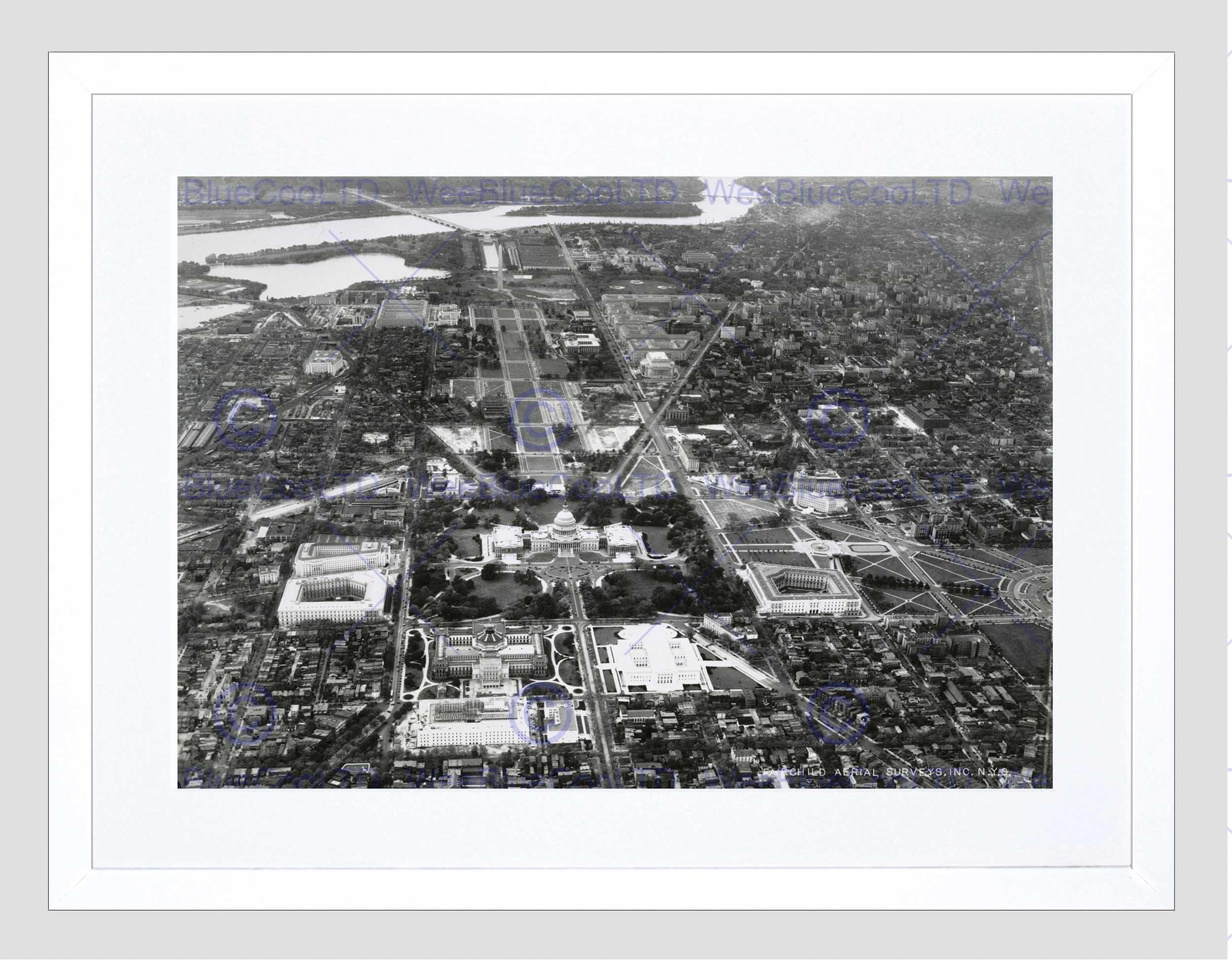 Vintage Aerial Capitol Hill Washington Dc America Usa Framed Art Regarding Latest Washington Dc Framed Art Prints (View 5 of 15)