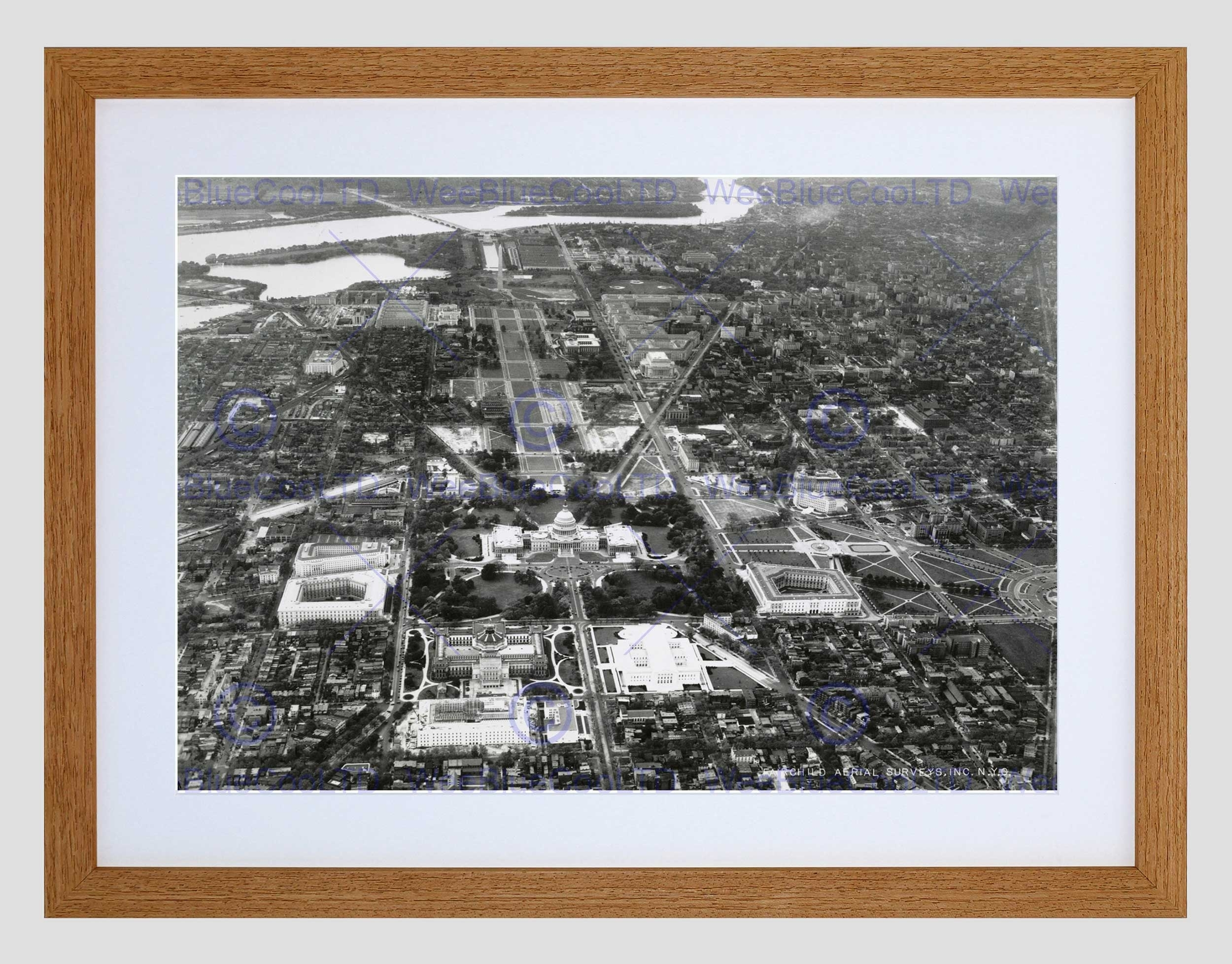 Vintage Aerial Capitol Hill Washington Dc America Usa Framed Art Throughout Most Recent Washington Dc Framed Art Prints (View 11 of 15)