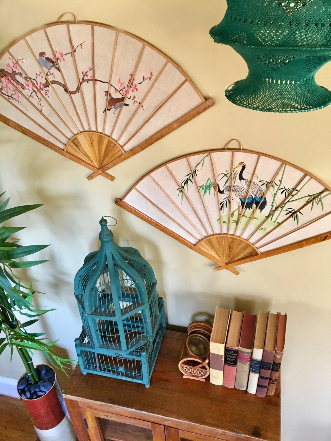 Vintage Asian Handpainted Fans Wall Hanging Set / Wall Decor With Inside Most Current Asian Fabric Wall Art (Gallery 11 of 15)