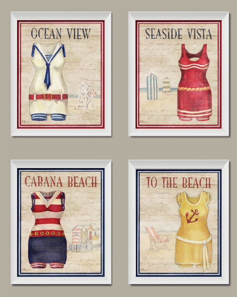 Vintage Bathing Suit Set; Coastal Decor; Four 810 Inch Framed Pertaining To Best And Newest Framed Classic Art Prints (View 11 of 15)