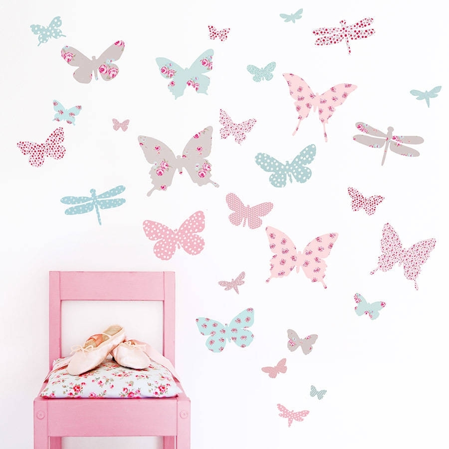 Vintage Floral Butterfly Fabric Wall Stickerskoko Kids Within Current Fabric Butterfly Wall Art (Gallery 1 of 15)