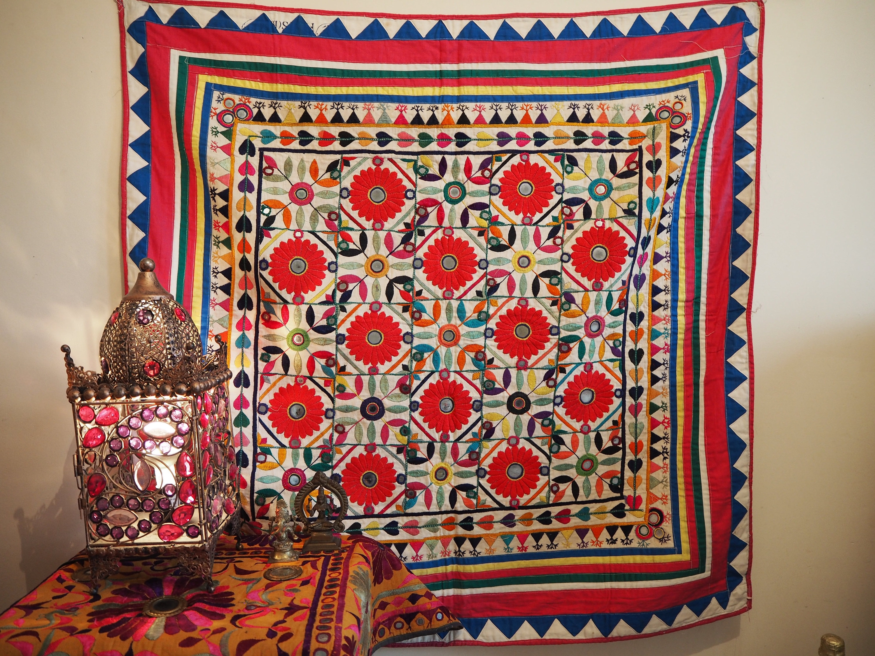 Vintage Indian Gujarat Antique Holy Temple Chakla Home Festival Regarding Recent Vintage Textile Wall Art (View 2 of 15)