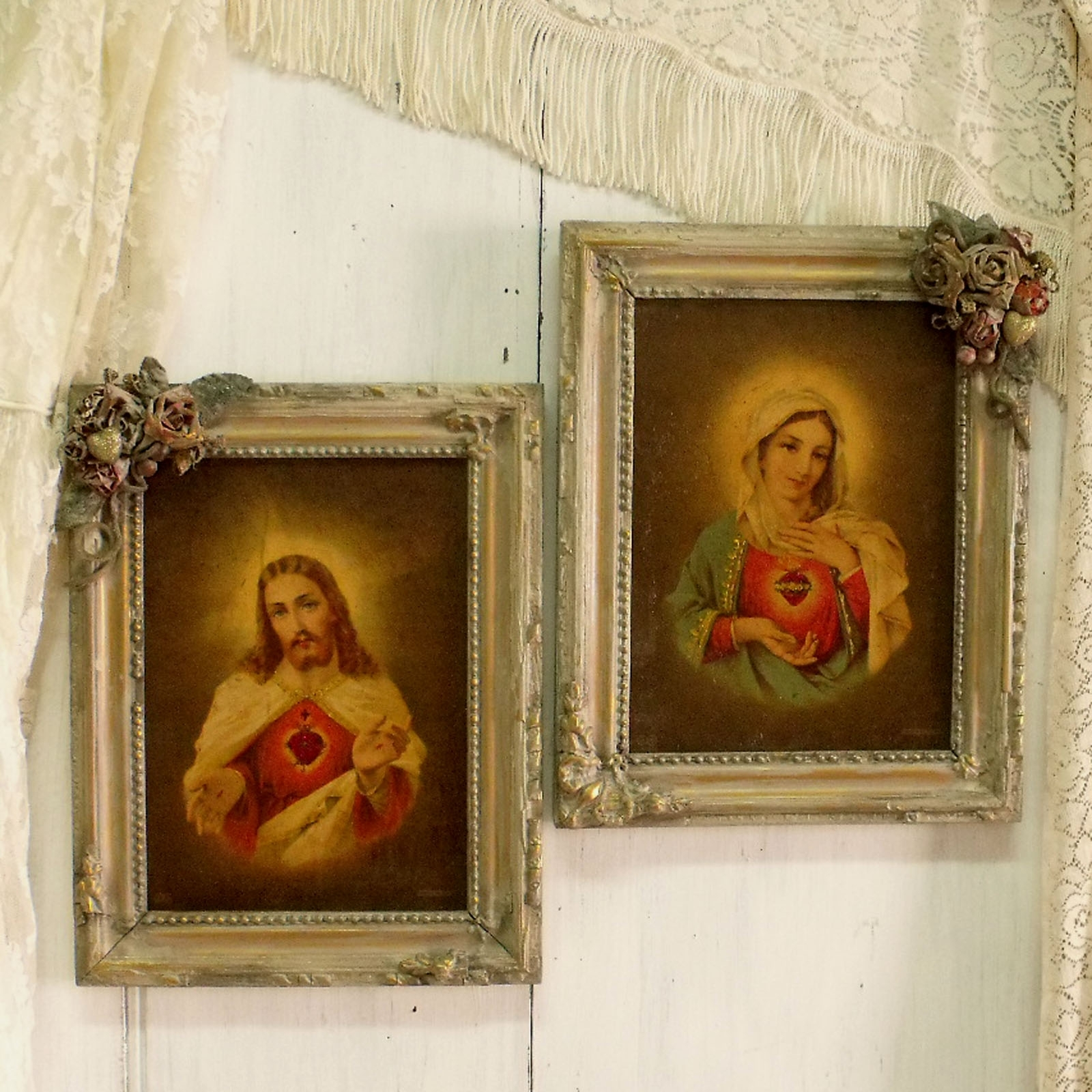 Vintage Jesus Virgin Mary Textured Prints Framed Pair | Virgin Intended For Most Up To Date Shabby Chic Framed Art Prints (Gallery 14 of 15)