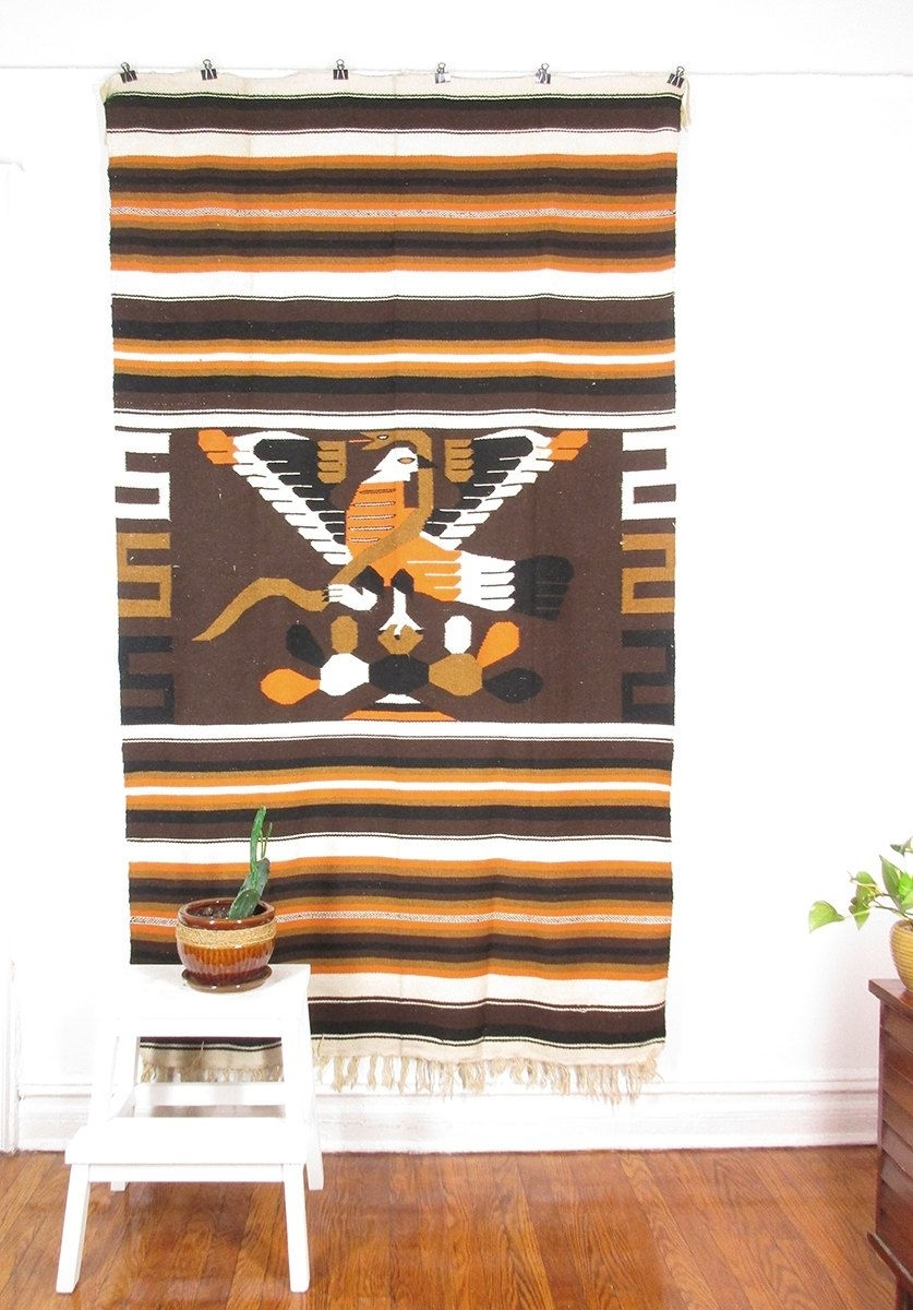 Vintage Mexican Blanket Rug, Woven Wall Hanging Textile, Large With Regard To Latest Vintage Textile Wall Art (View 12 of 15)
