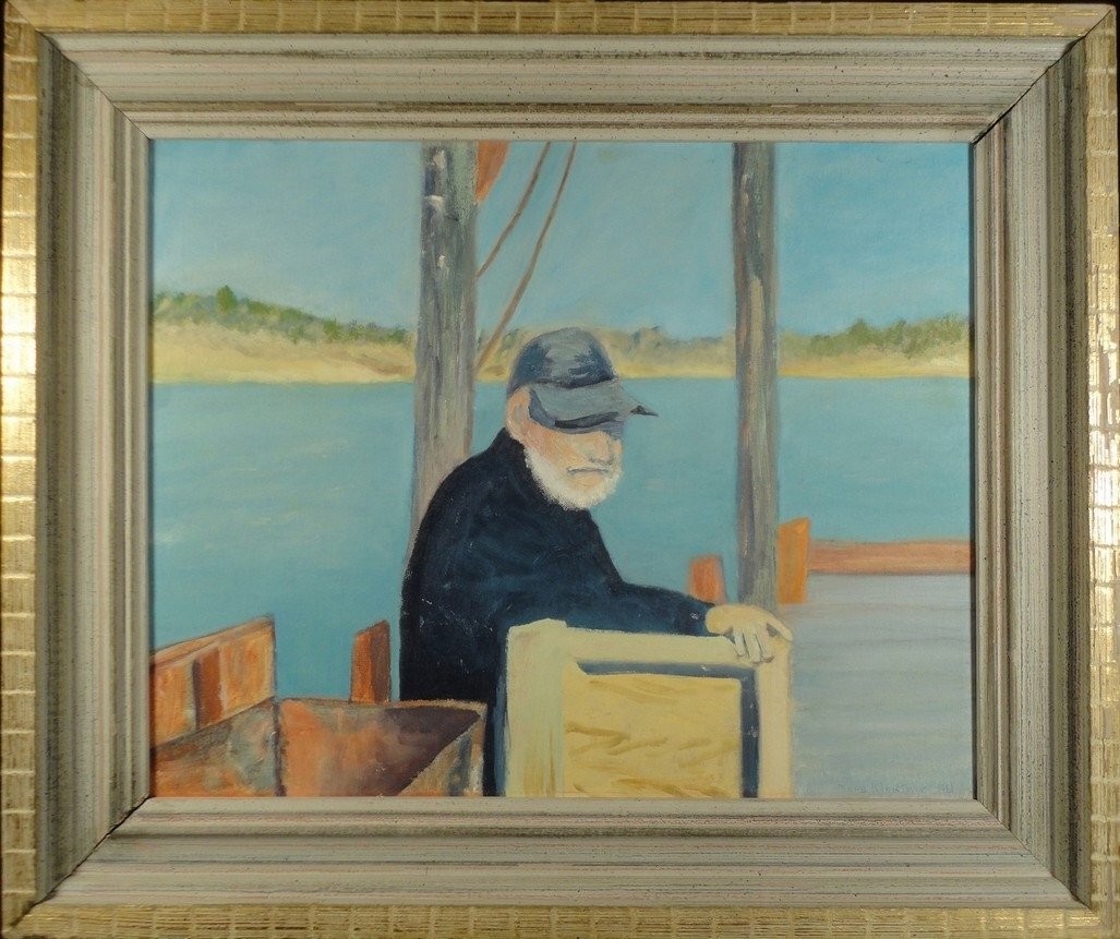 Vintage Oil Painting American Folk Art Original Portrait Fisherman Regarding Most Recently Released American Folk Art Framed Prints (View 13 of 15)