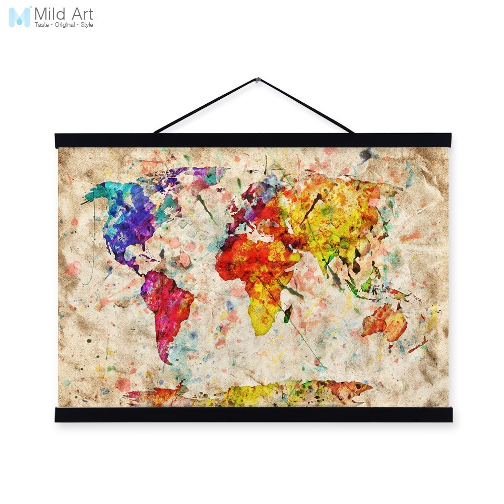 Vintage Retro Colorful World Map Shabby Chic Wood Framed Canvas within 2017 Shabby Chic Framed Art Prints