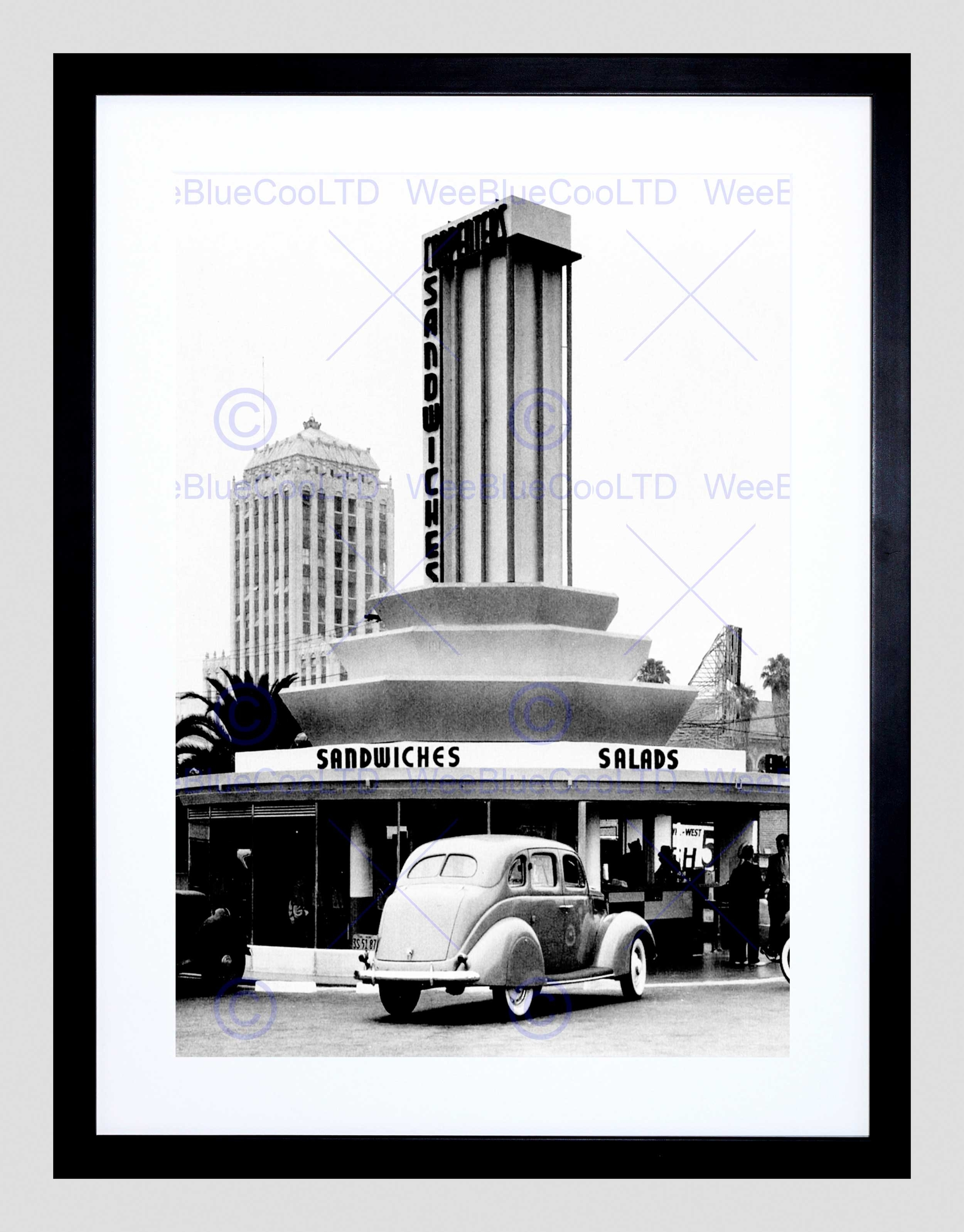 Vintage Sandwich Shop Los Angeles California Usa Framed Art Print Regarding Most Up To Date Los Angeles Framed Art Prints (View 15 of 15)