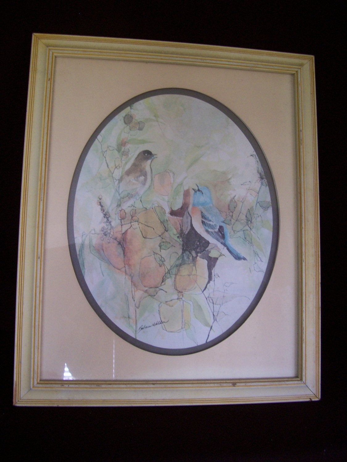 "Vintage Signed Barbara Weldon Watercolor Print "" Birds "" Framed For Current Birds Framed Art Prints (View 10 of 15)"