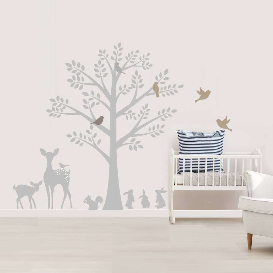 Vintage Tree Wall Stickerslittleprints | Notonthehighstreet in Newest Fabric Animal Silhouette Wall Art