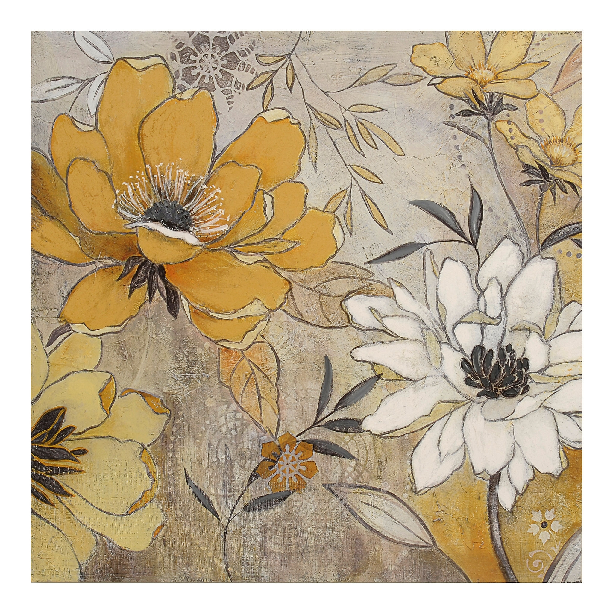 Vintage Yellow & Gray Floral Canvas Art Print | Vintage Yellow And With 2018 Kirklands Canvas Wall Art (Gallery 4 of 15)