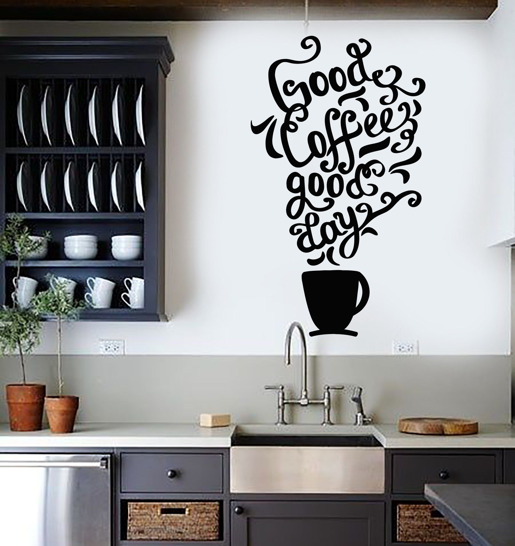 Vinyl Wall Decal Quote Coffee Kitchen Shop Restaurant Cafe Art regarding Most Popular Vinyl Wall Accents