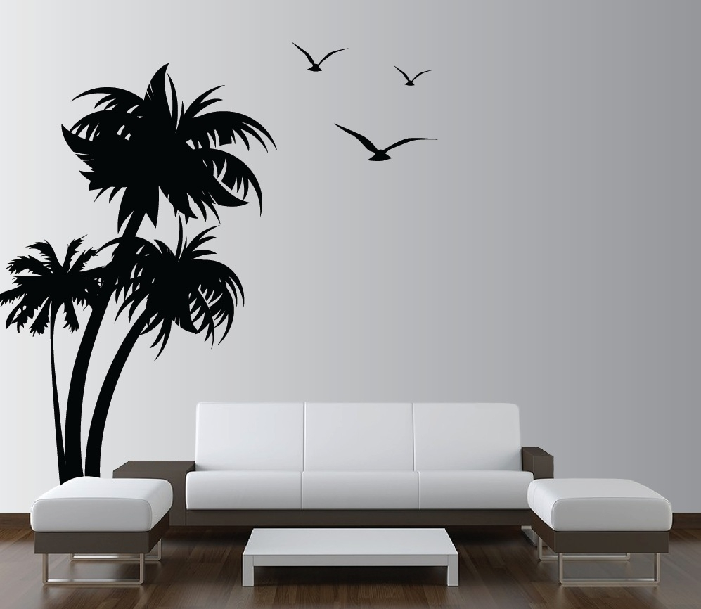 Vinyl Wall Decals Design For New Living Room Look | Shaadiinvite With Regard To Current Vinyl Wall Accents (View 13 of 15)