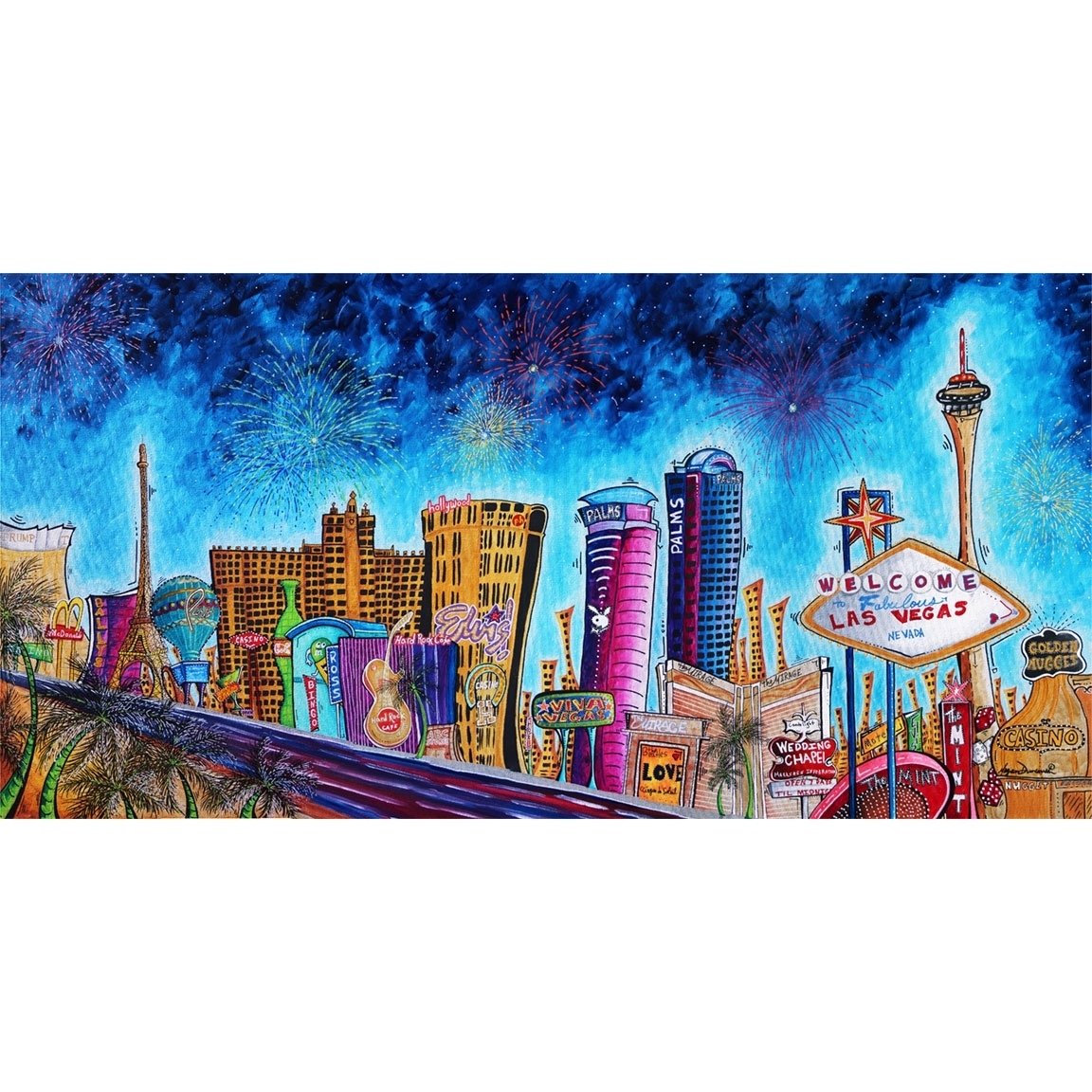 "Viva Las Vegas"" Original Pop Art Style Colorful Vegas Strip Intended For 2017 Las Vegas Canvas Wall Art (View 12 of 15)"