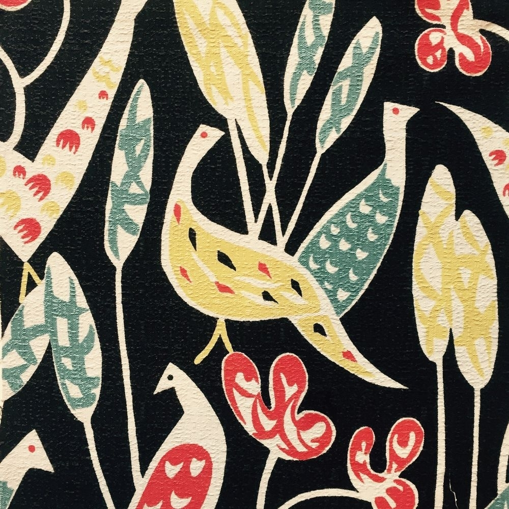 Vtg 50's Bird Fabric Retro Diy Wall Art Sylvia Chalmers Lucienne with regard to Most Up-to-Date Vintage Textile Wall Art