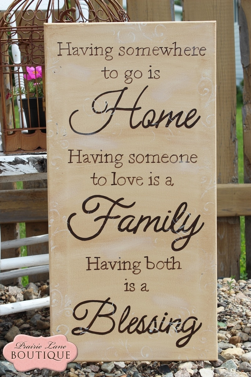 Wa007 Home, Family, Blessing, 12 X 24 Quote Canvas For Most Current Canvas Wall Art Family Quotes (View 8 of 15)