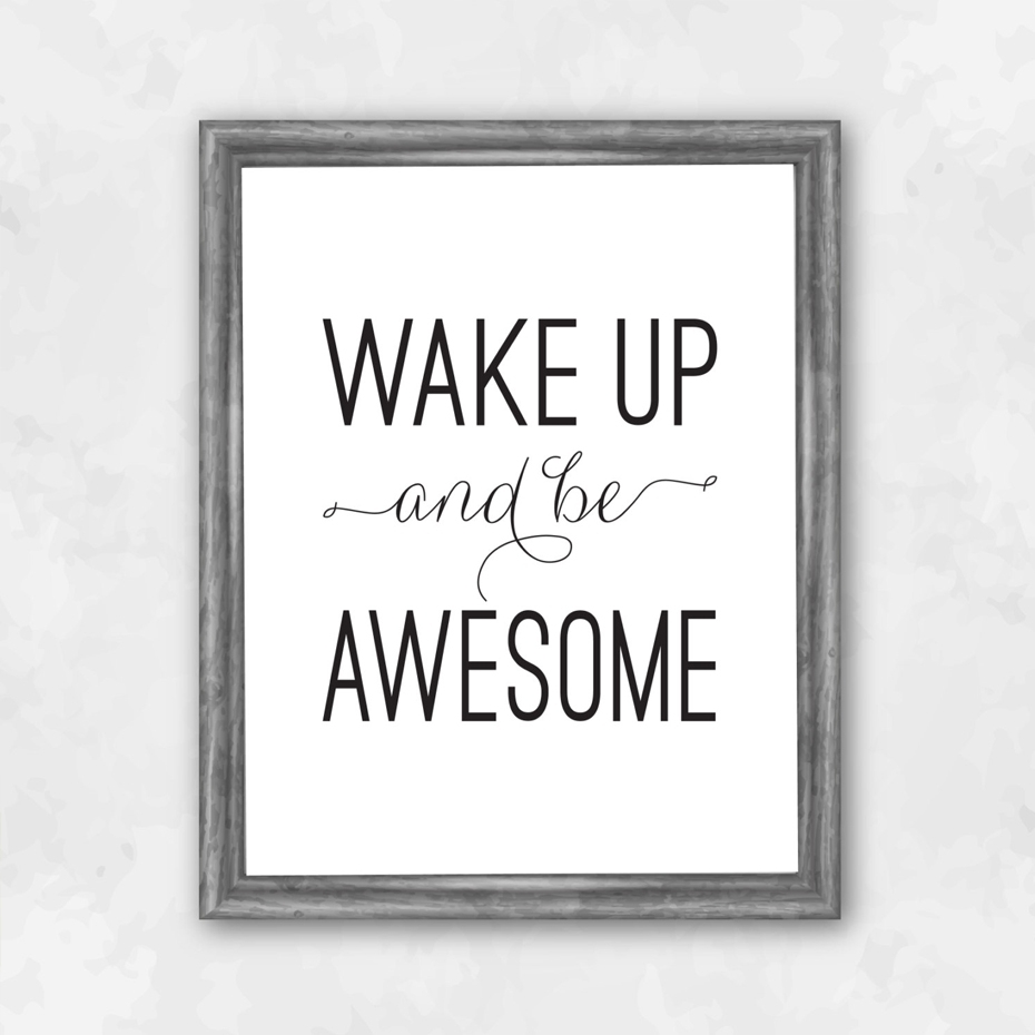 Wake Up And Be Awesome Inspirational Quotes Canvas Painting Black Inside Most Popular Inspirational Quotes Canvas Wall Art (View 13 of 15)