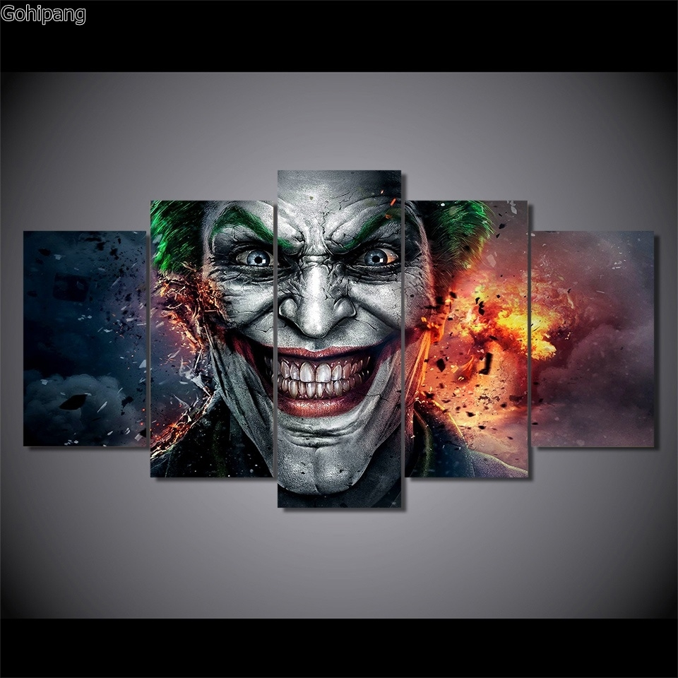 Wall Art 5 Pieces Canvas Prints Batman Joker Comics Abstract With Regard To Most Up To Date Joker Canvas Wall Art (View 14 of 15)