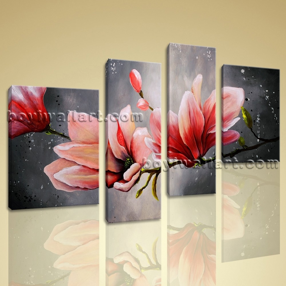 Wall Art: Best Pictures Flower Canvas Wall Art Canvas Prints Throughout Most Popular Red Flowers Canvas Wall Art (View 3 of 15)