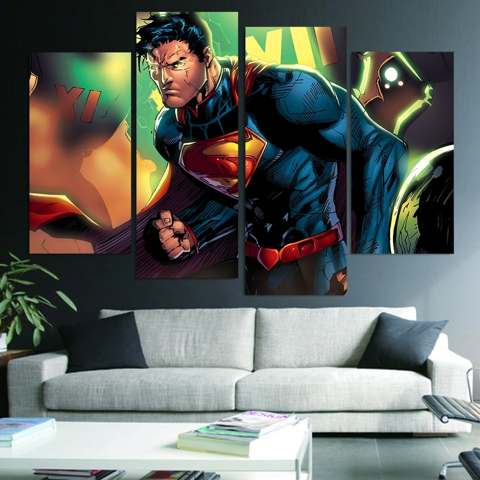 Wall Art Canvas Painting Superman Clark Kent Hd Printed 4 Pieces Intended For Most Recently Released Kent Canvas Wall Art (View 10 of 15)