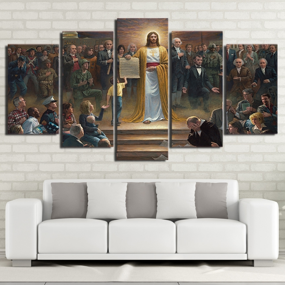 Wall Art Canvas Pictures Home Decor Frame 5 Pieces Classic In Newest Jesus Canvas Wall Art (View 6 of 15)