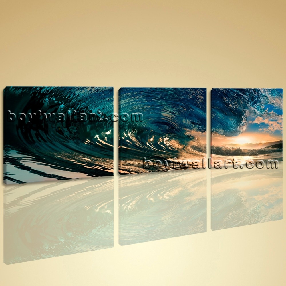 Wall Art Canvas Print Hd Ocean Wave Surf Sunset Contemporary Home Inside Most Recent Ocean Canvas Wall Art (View 7 of 15)