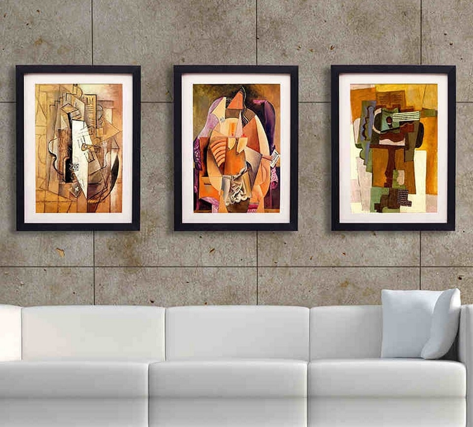 Wall Art Decor: Gray Stain Framed Wall Art For Living Room Frame Pertaining To Current Contemporary Framed Art Prints (View 4 of 15)