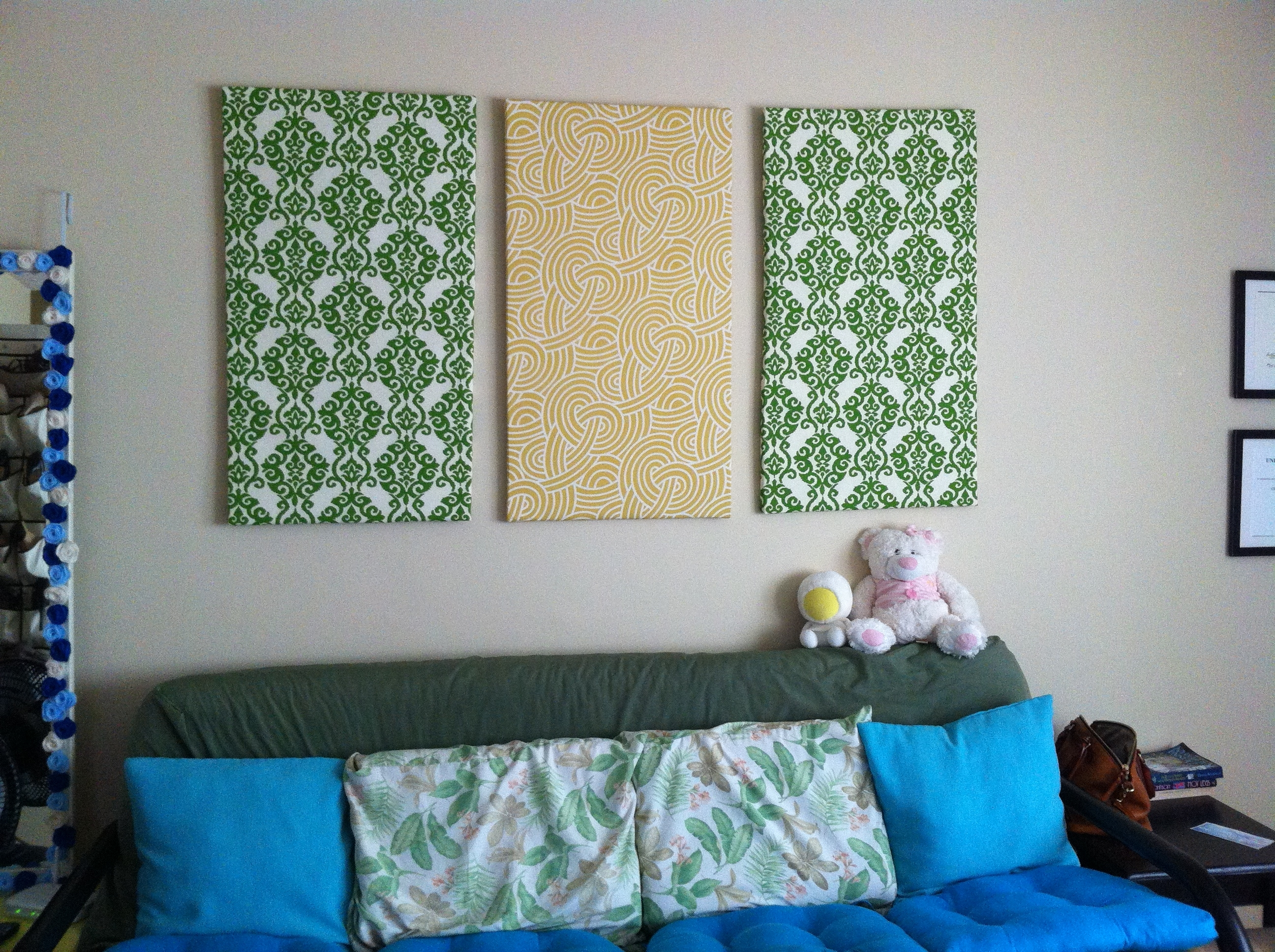 Wall Art Decor Ideas: Canvas Separated Panels Diy Fabric Wall Art Throughout Most Recent Inexpensive Fabric Wall Art (View 6 of 15)