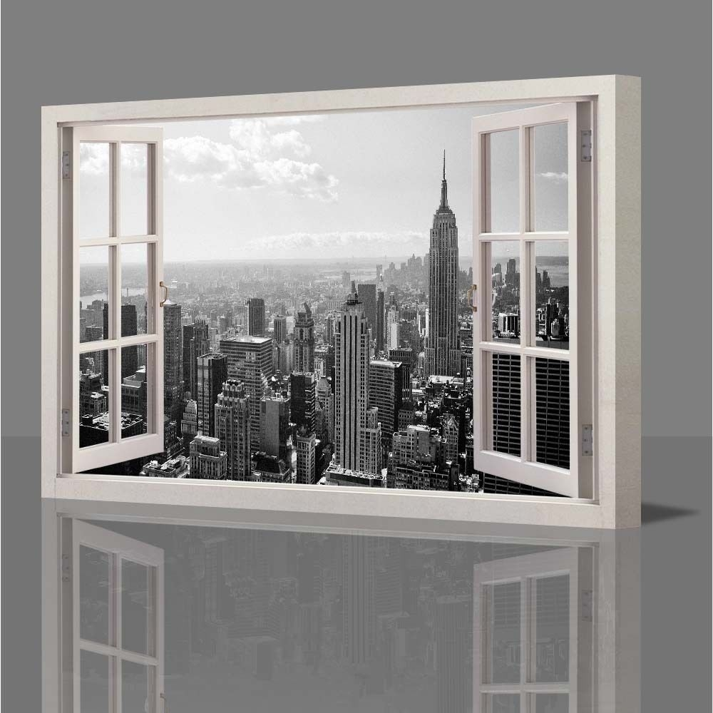 Wall Art Decor: Wooden Canvas Wall Art New York Window In Most Current Canvas Wall Art Of New York City (View 14 of 15)