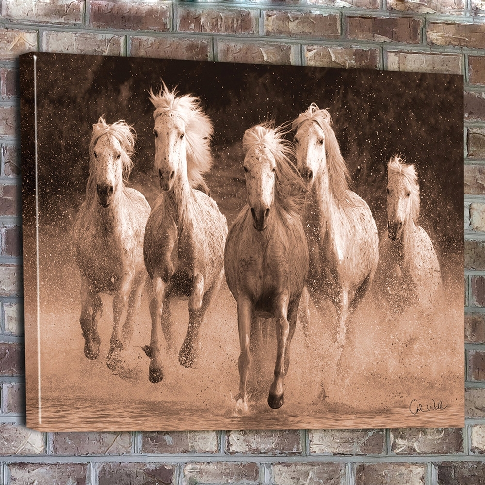 Wall Art Design: Horse Canvas Wall Art Rectangle Brown Five Horse Inside 2017 Horses Canvas Wall Art (View 14 of 15)