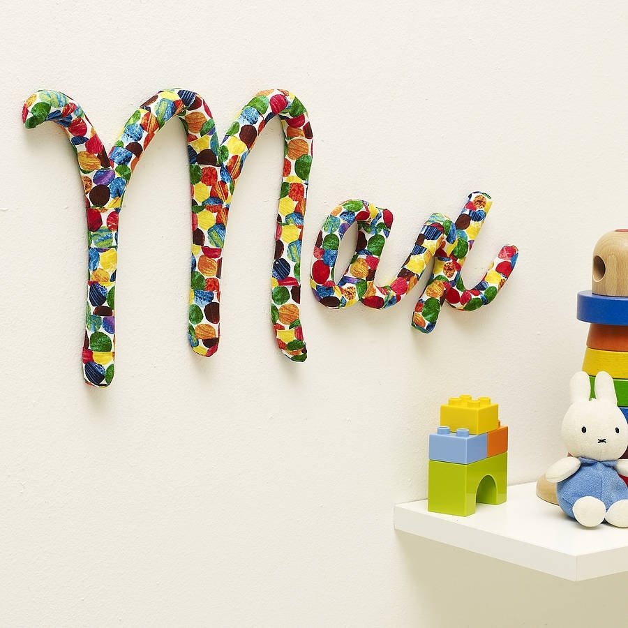 Wall Art Design Ideas: 3D Polka Dot Wall Name Art Theme Toys In Newest Baby Names Canvas Wall Art (View 7 of 15)