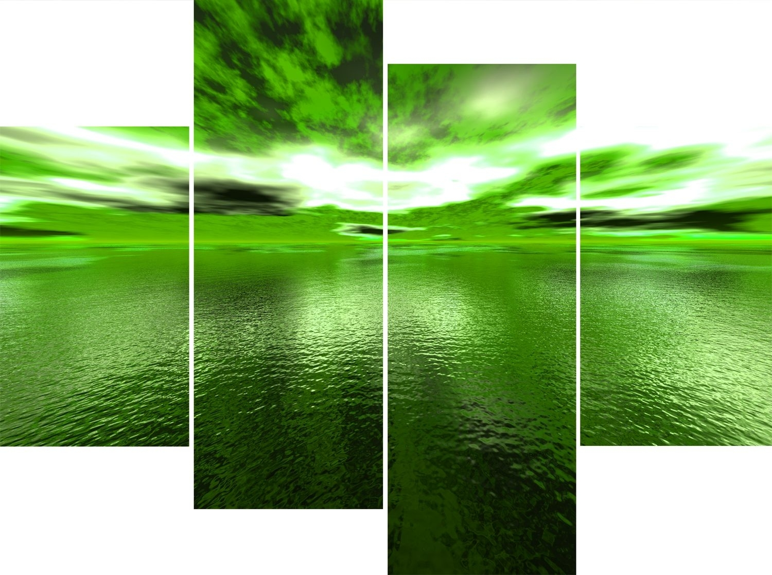 Wall Art Design Ideas: Large 4 Panel Green Sea Andros Vision Intended For Most Popular Lime Green Canvas Wall Art (View 11 of 15)