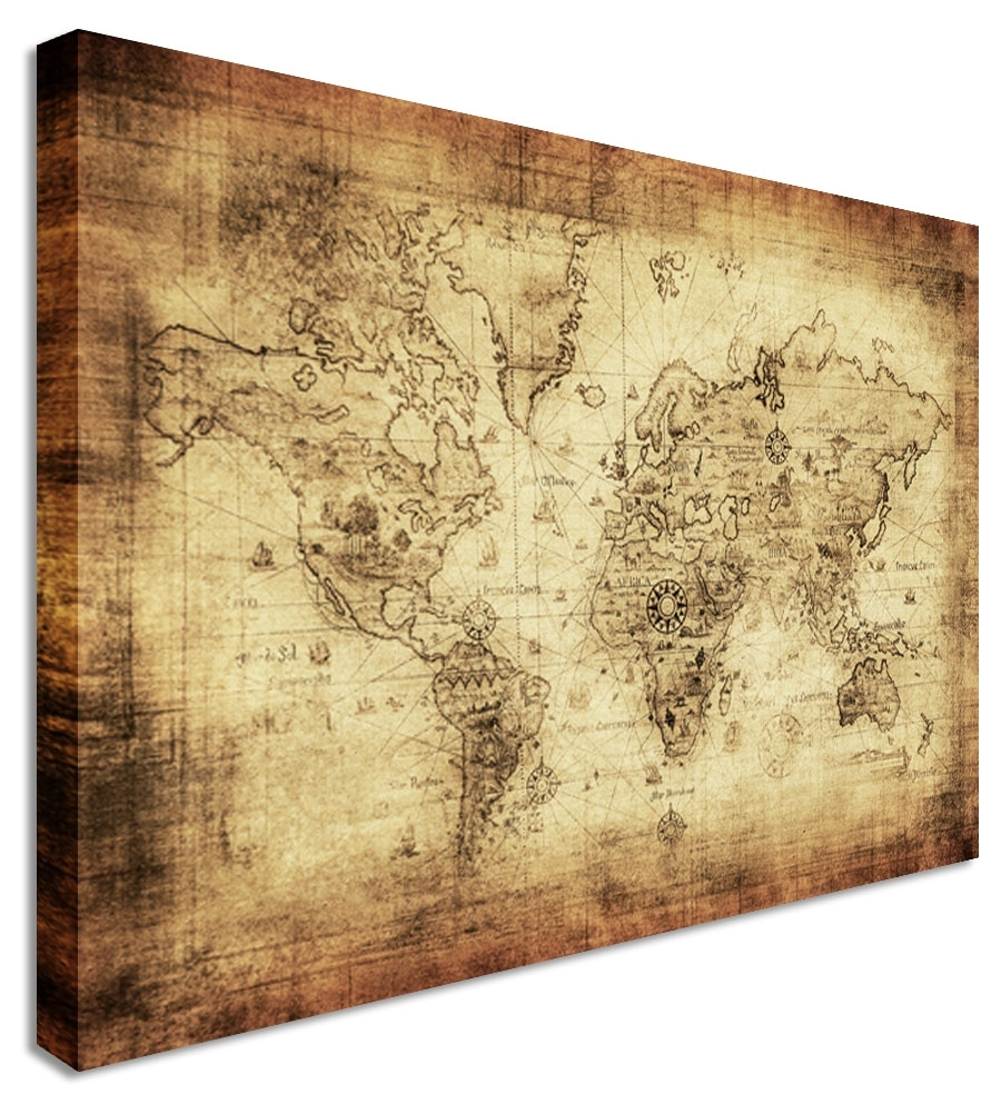 Wall Art Design Ideas: Large Classic Vintage World Map Wall Art In Best And Newest Maps Canvas Wall Art (View 12 of 15)