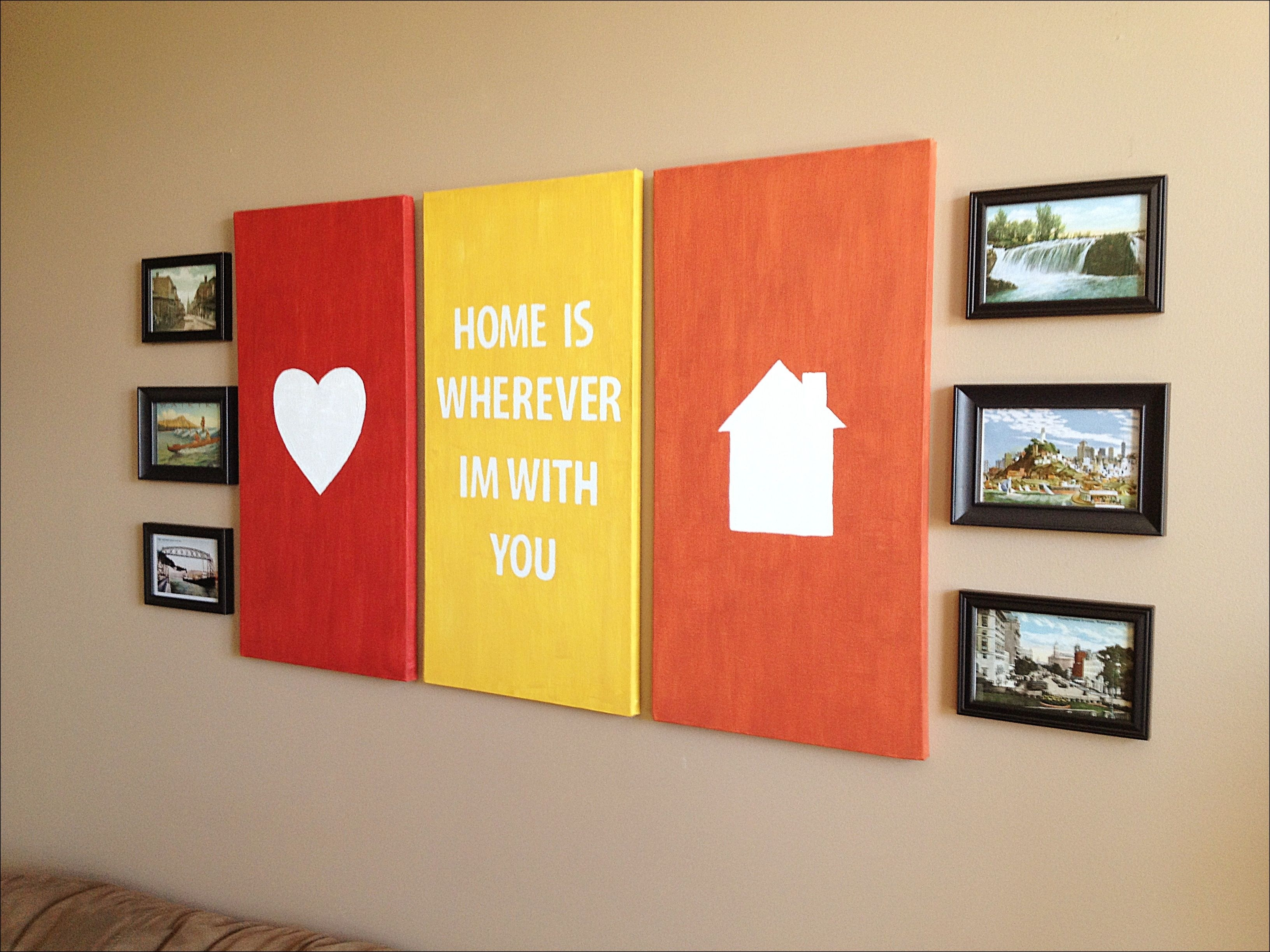 Wall Art Designs: Canvas Wall Art Quotes Heart And House Silhoutte Throughout 2017 Hearts Canvas Wall Art (View 12 of 15)