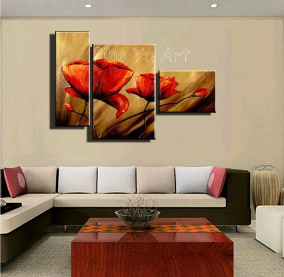 Wall Art Designs: Discount Wall Art 3 Piece Abstract Modern Canvas For 2017 Poppies Canvas Wall Art (View 13 of 15)