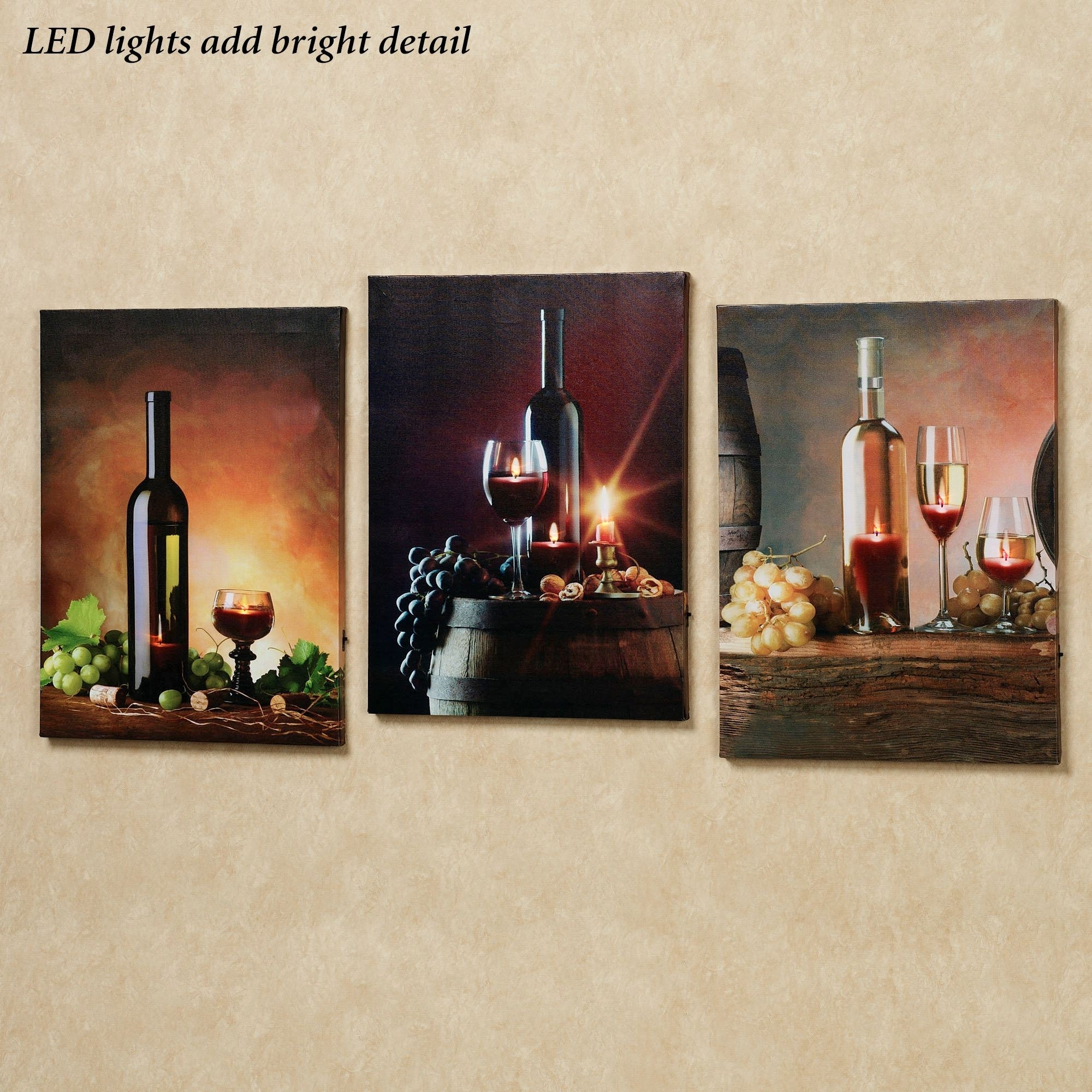 Wall Art Designs: Wine Wall Art Home Art Themed Canvas Art Lirac Pertaining To Best And Newest Lighted Canvas Wall Art (View 3 of 15)