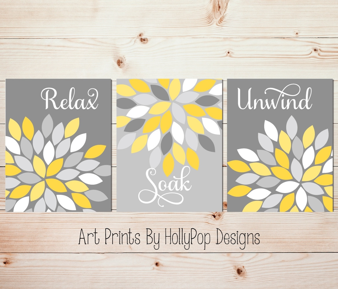 Wall Art Designs: Yellow And Gray Wall Art Yellow Gray Wal Art With Regard To 2017 Bedroom Canvas Wall Art (View 14 of 15)