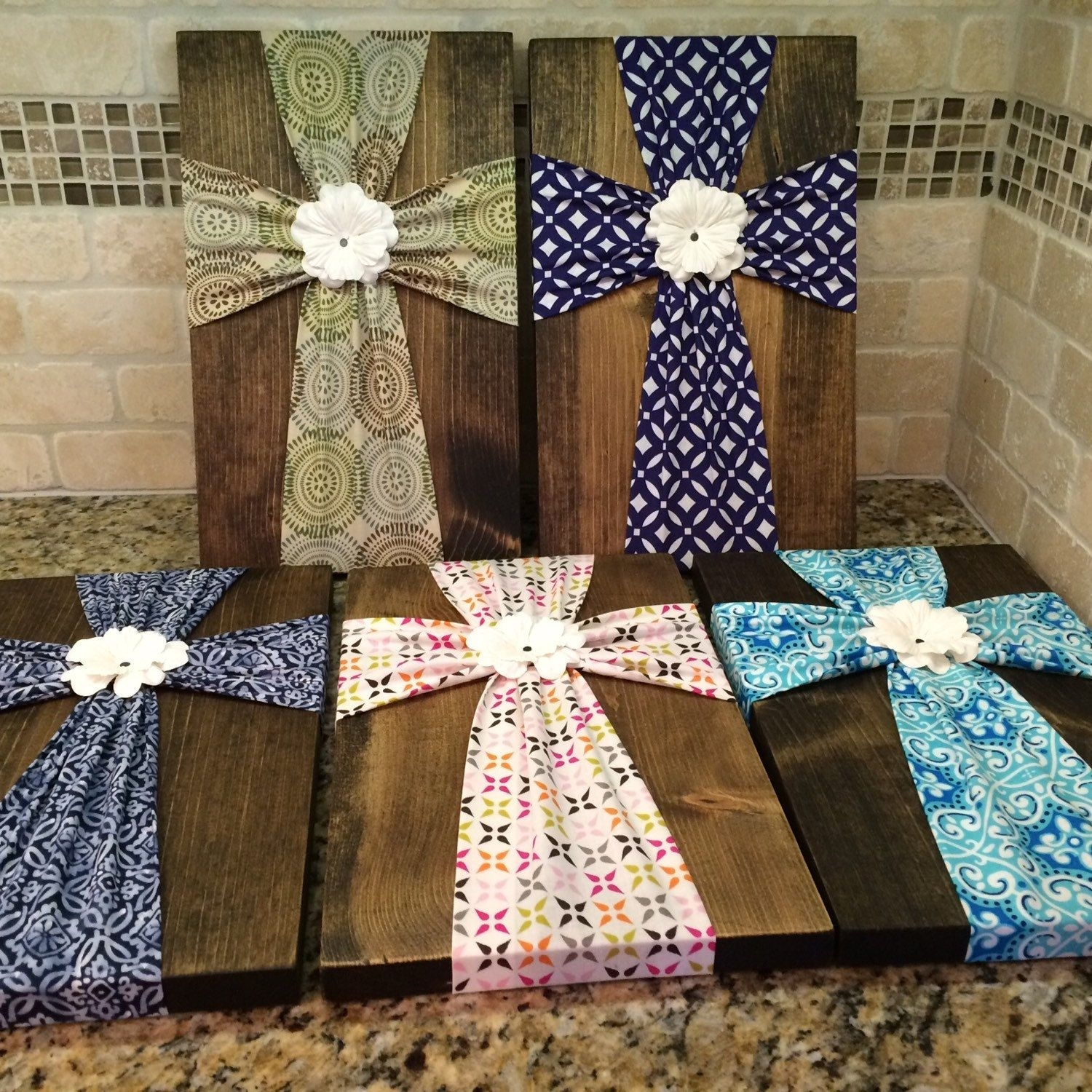 Wall Art – Fabric Cross On Wood Plaque With Flower Embellishment For Recent Diy Fabric Cross Wall Art (View 8 of 15)